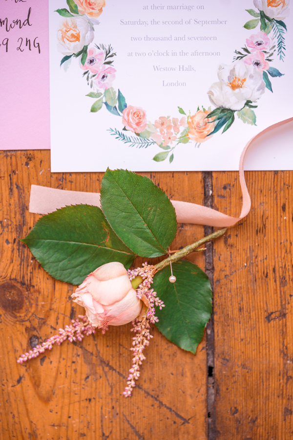 Rose and Astilbe Buttonhole