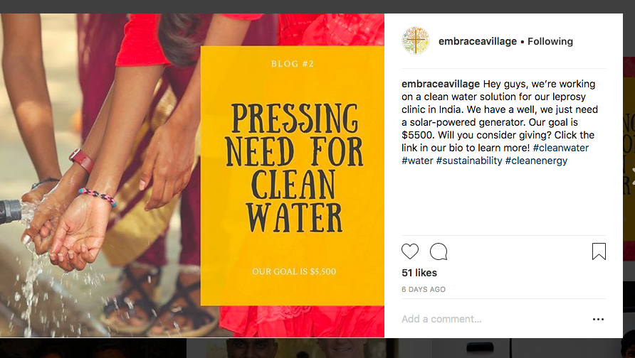 Clean Water India social media post