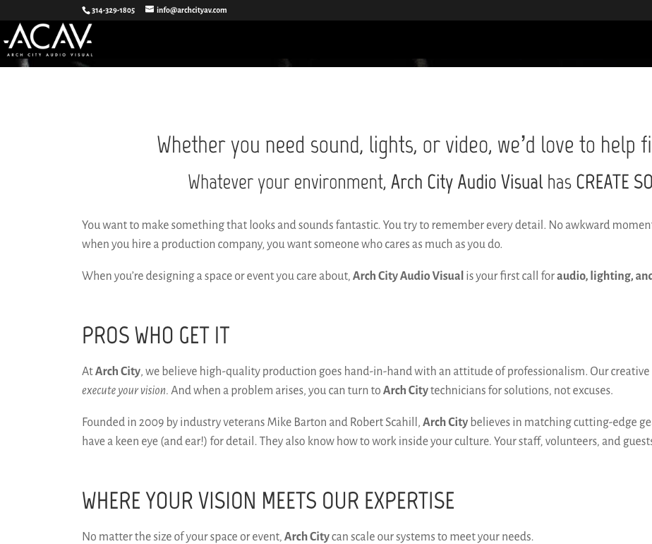 Arch City AV website about page copywriting.png