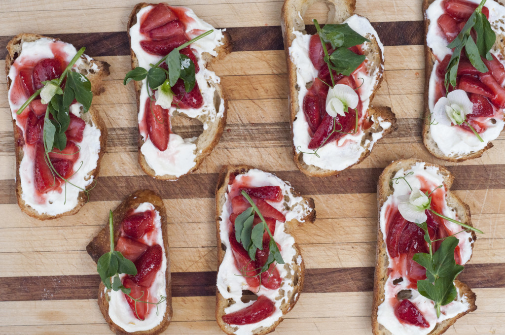 Strawberry Ricotta Toast with Pea Tendril