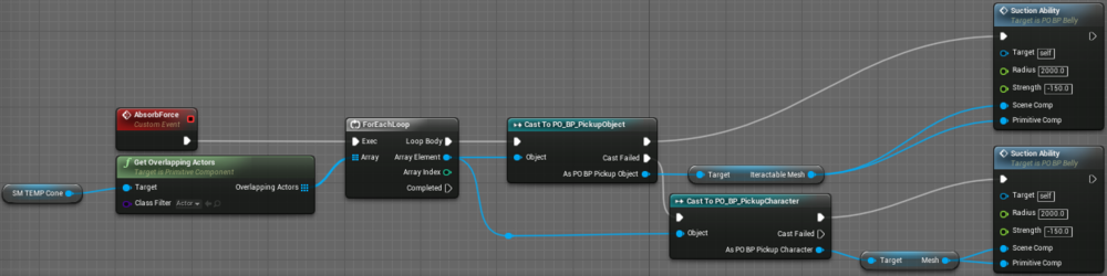 Fig 1 -  Absorb force blueprint updated to support skeletal meshes