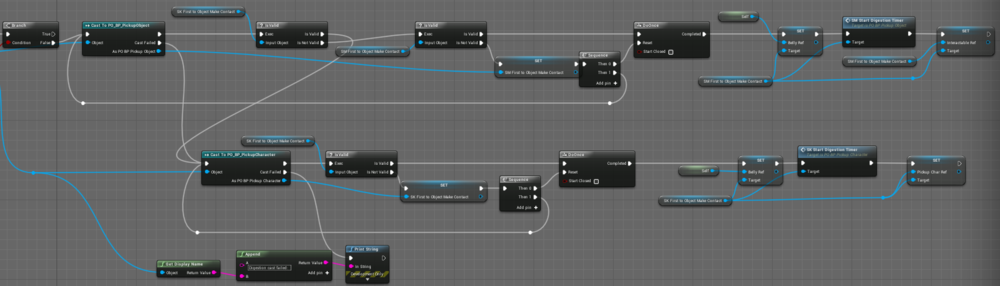 Fig 5 -  Updated digestion queue blueprint that casts to the PickupObject (Static mesh) and the PickupCharacter (Skeletal mesh).