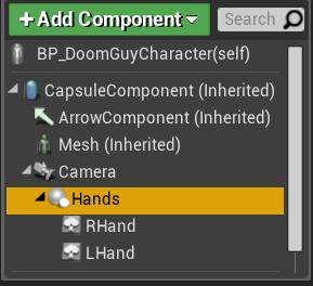 Fig 11 -  Hand sprite component setup