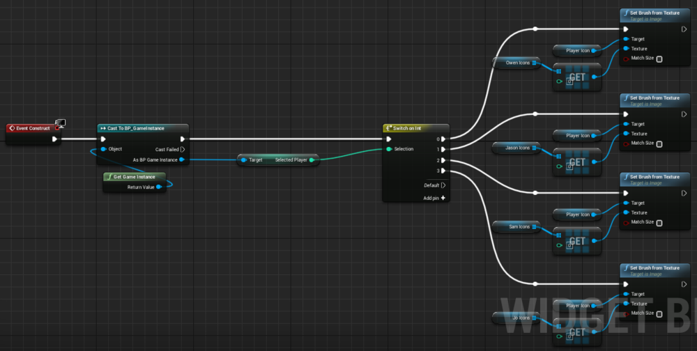 Fig 22 -  Widget blueprint that controls the which player is chose based on the level of difficulty