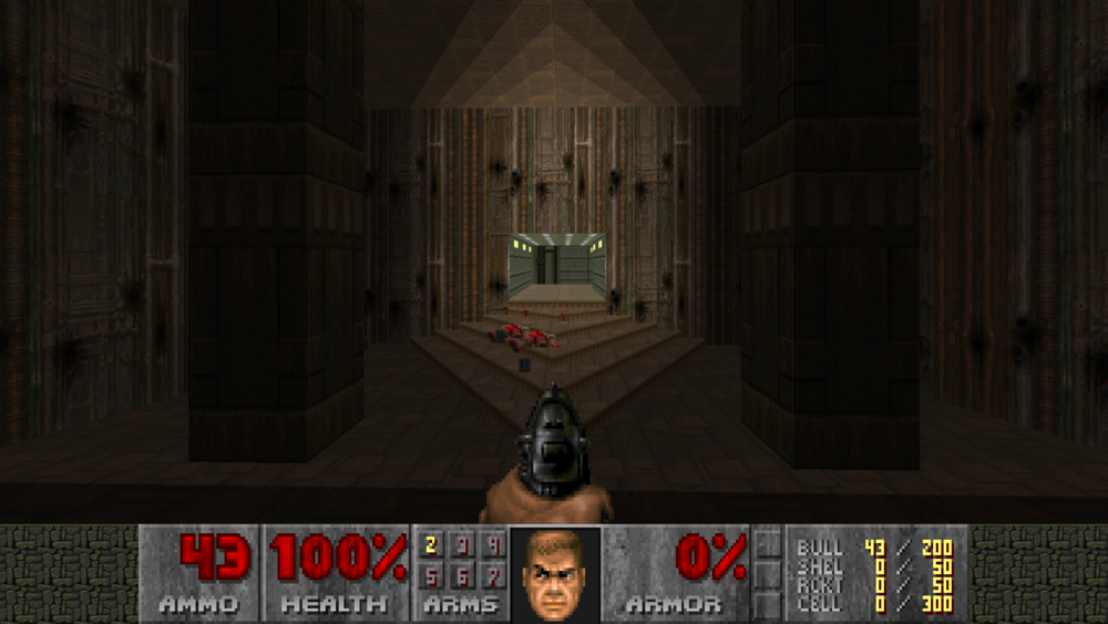 Fig 10 -  Doom heads up display shows the players arms from a first person perspective