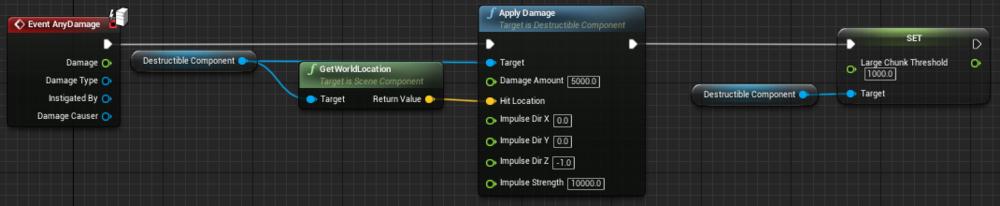 Fig 11 -  Destructible platform blueprint with large chunk threshold