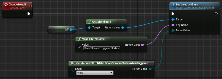 Fig 10 -  Changing the states using custom events within the boomshroom blueprint