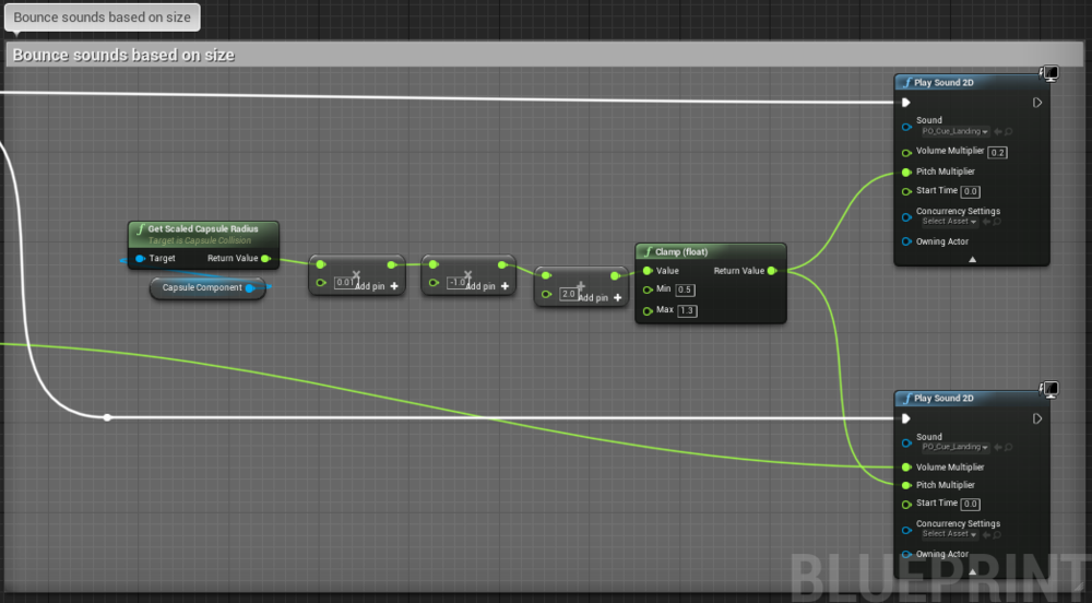 Fig 6 -  Bounce sound blueprint attached to OnLanded event