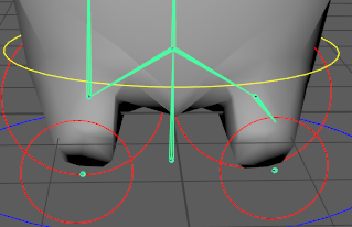 Fig 1 -  Problems with the skin weights for the legs of the BFF