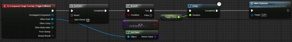 Fig 2 -  Mine triggered collision blueprint