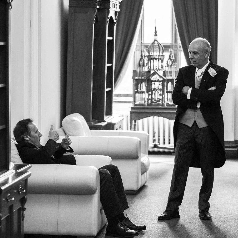 Father of the Bride, having a chat with Father of the Bride