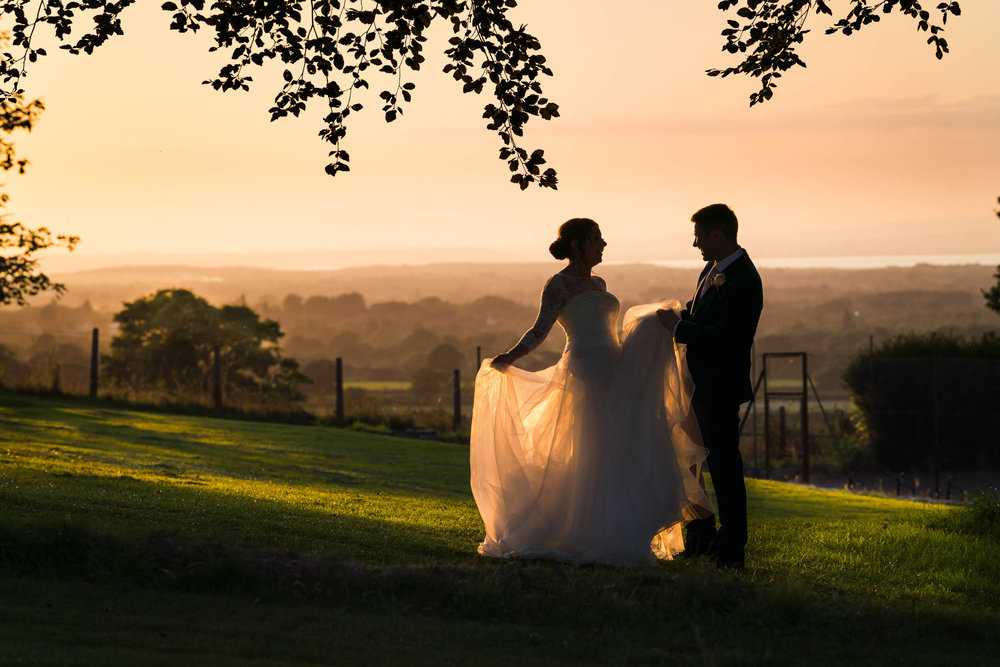 Somerset Wedding Photographer, Coombe Lodge Wedding Photography, Bride and Groom at sunset