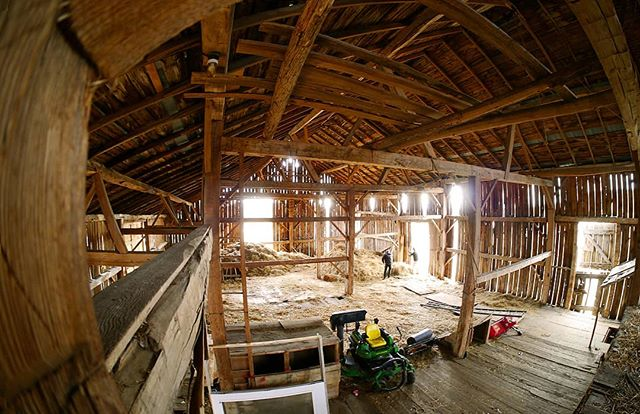 An interior shot of the barn renovation project going on in Mono! An amazing space. . . . #setlessarchitecture #architecture #torontodesigner #moderndesign #renovation #barn #construction #fisheye #modernarchitecture #wood #wip