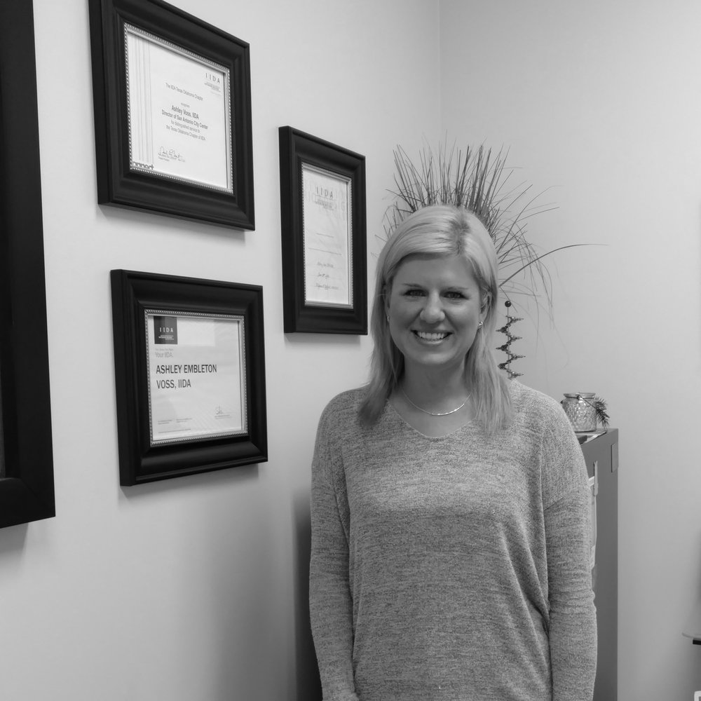 ASHLEY VOSS   Ashley has been with Villa Park since 2005. She received a Bachelor of Interior Design from Texas Tech University (2005). She is a member of IIDA and is a Registered Interior Designer - Texas since 2010.