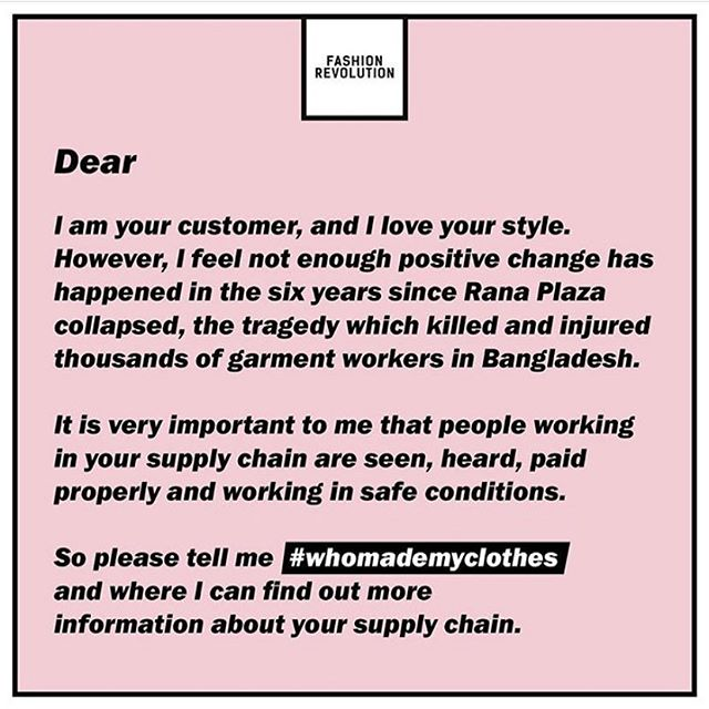 Here is a great form letter to send to your favorite designers/stores. It's simple actions like asking #whomademyclothes that can and will affect change. Asking this question can also help heal our planet as Fast Fashion is the second largest form of pollution.  Thanks @fash_rev for starting this revolution of change.  #fashrev #fashionrevolution #sustainablefashion #slavefreefashion #bethechange #endslavery #loveinaction #durgatree #imadeyourclothes #askthequestion #consciousconsumer #earthday #earthday2019