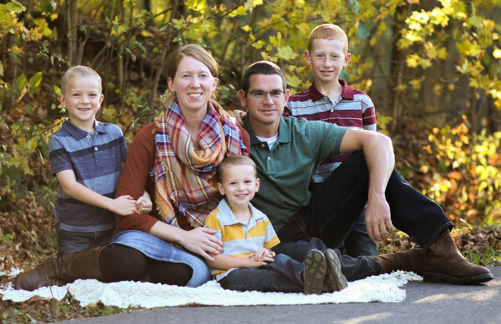 Kyle, his wife Casey, and their 3 boys