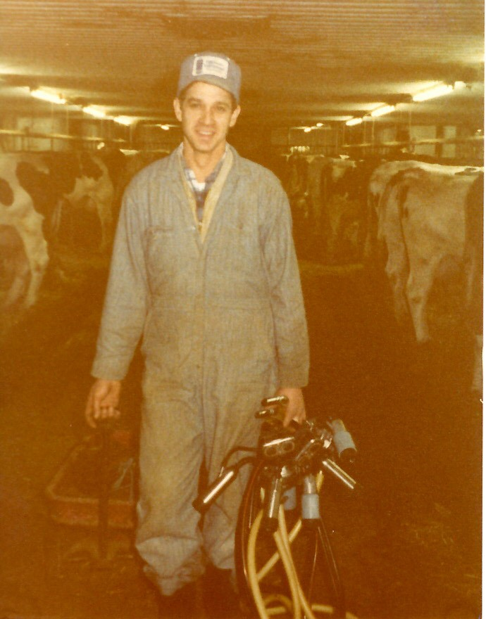 Ralph milking in the tie-stall barn