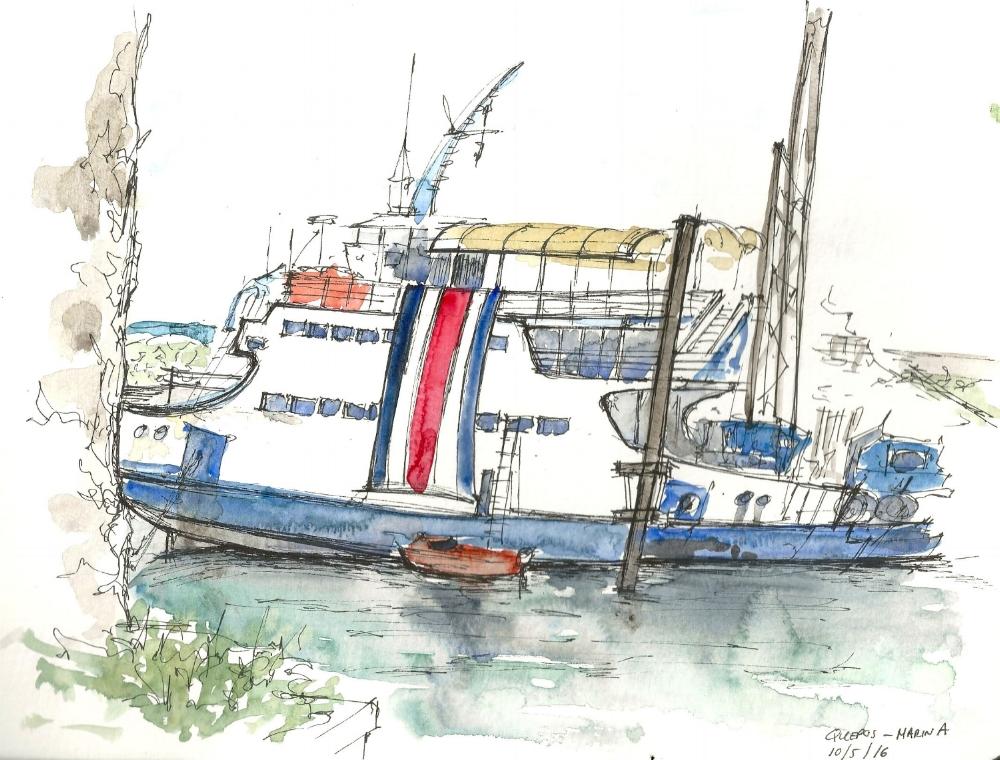 Watercolor/ ink sketch in Quepos, Costa Rica.
