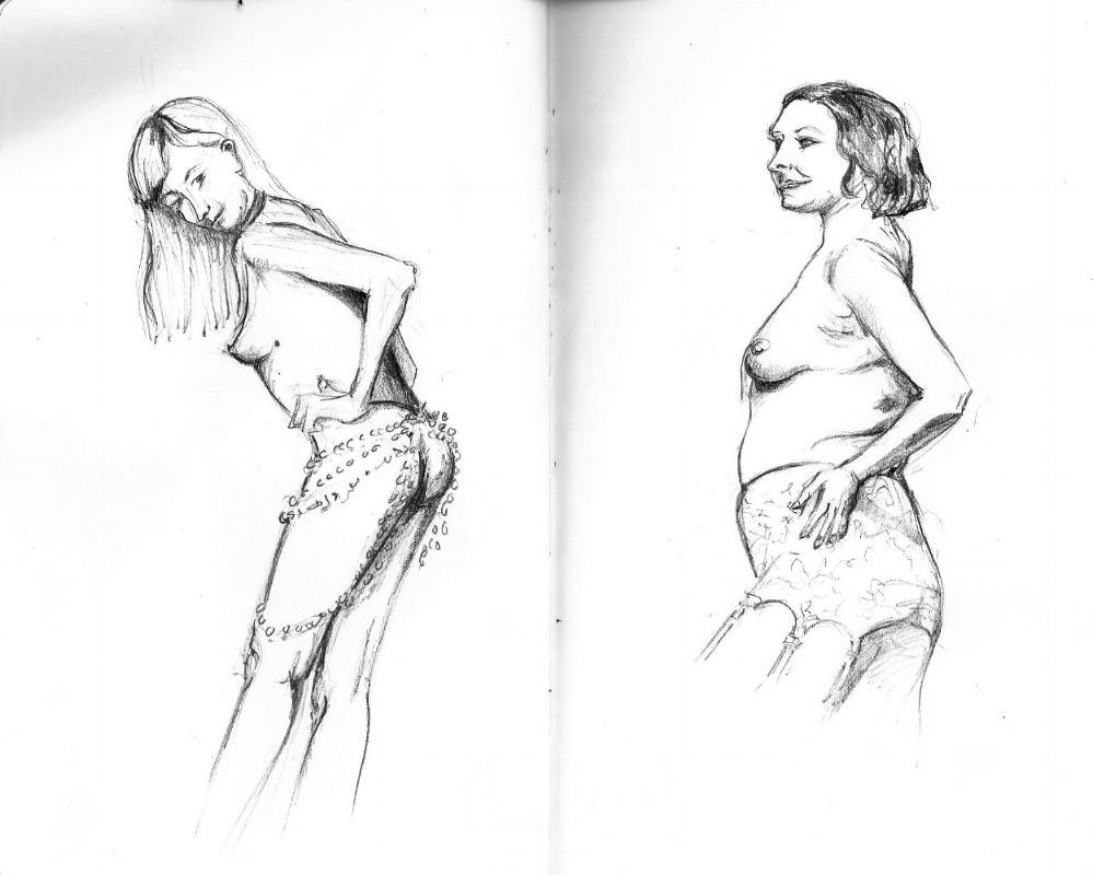 Figure drawings in pencil. From Grotesque Burlesque drawing session on June 28, 2018