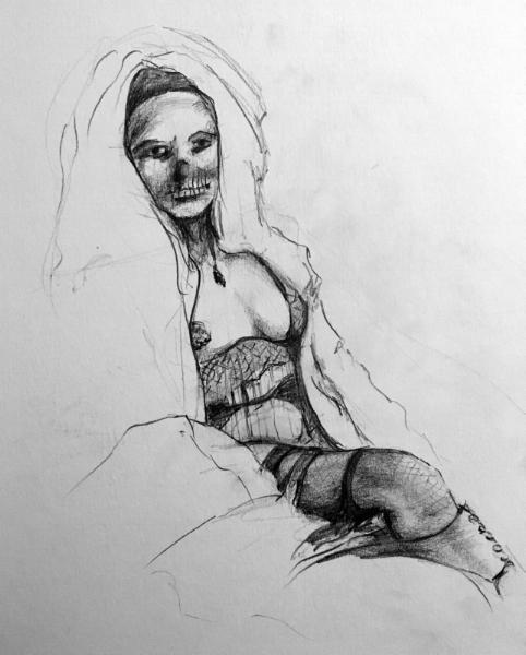 Happy Halloween! Figure drawing in pencil. From Grotesque Burlesque drawing session. October, 2017