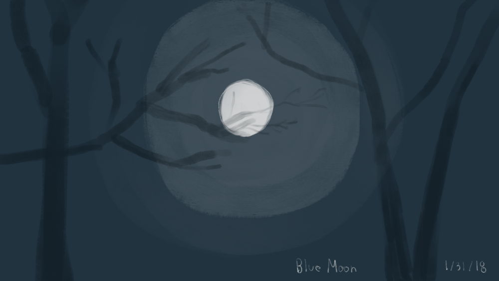 Blue moon on 1/31/18. Live sketch in the dark.