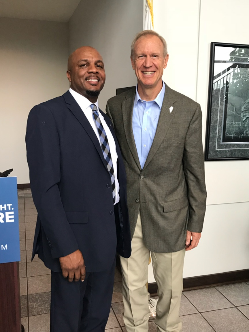 ABCIL 2019 Chairman Calvin Williams with Construction Contracting Services and Governor Bruce Rauner