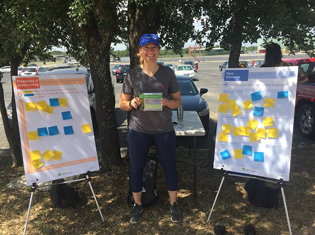 Did you spot us at the @sfclocal Farmers Market in Sunset Valley? We were surrounded by healthy fruits and veggies, and asked participants about their park concerns! How can your park be improved?? #healthyparksplan #activeliving #farmersmarket #getoutside