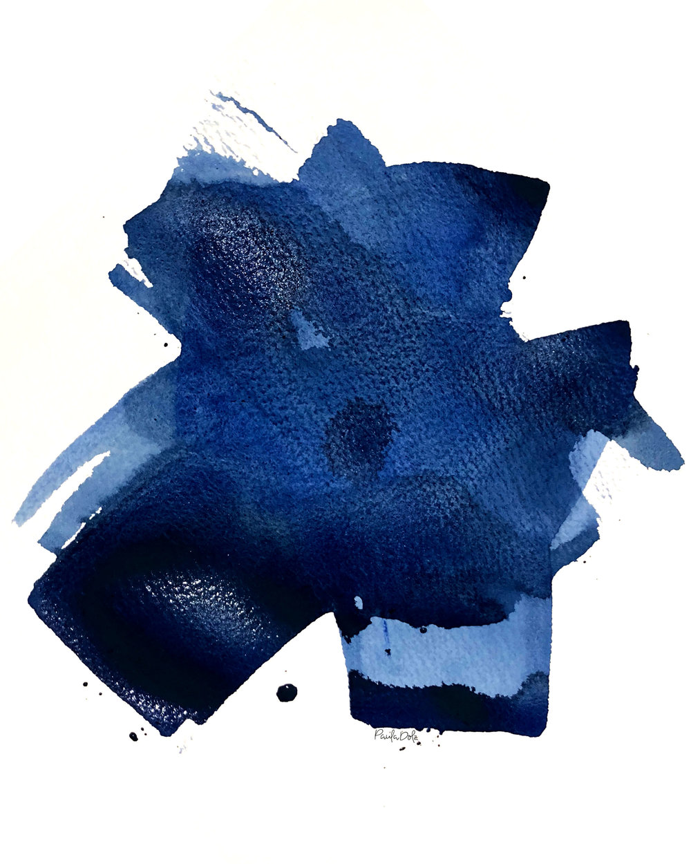 Blue Stain · 10x12 · Acrylic on Paper · 2018 ·  AVAILABLE