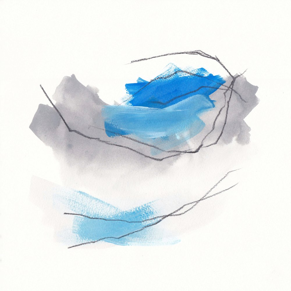 Grey and Blue 1 · 10x10 (25x25cm) · Mixed Media on Paper · 2018 ·  AVAILABLE