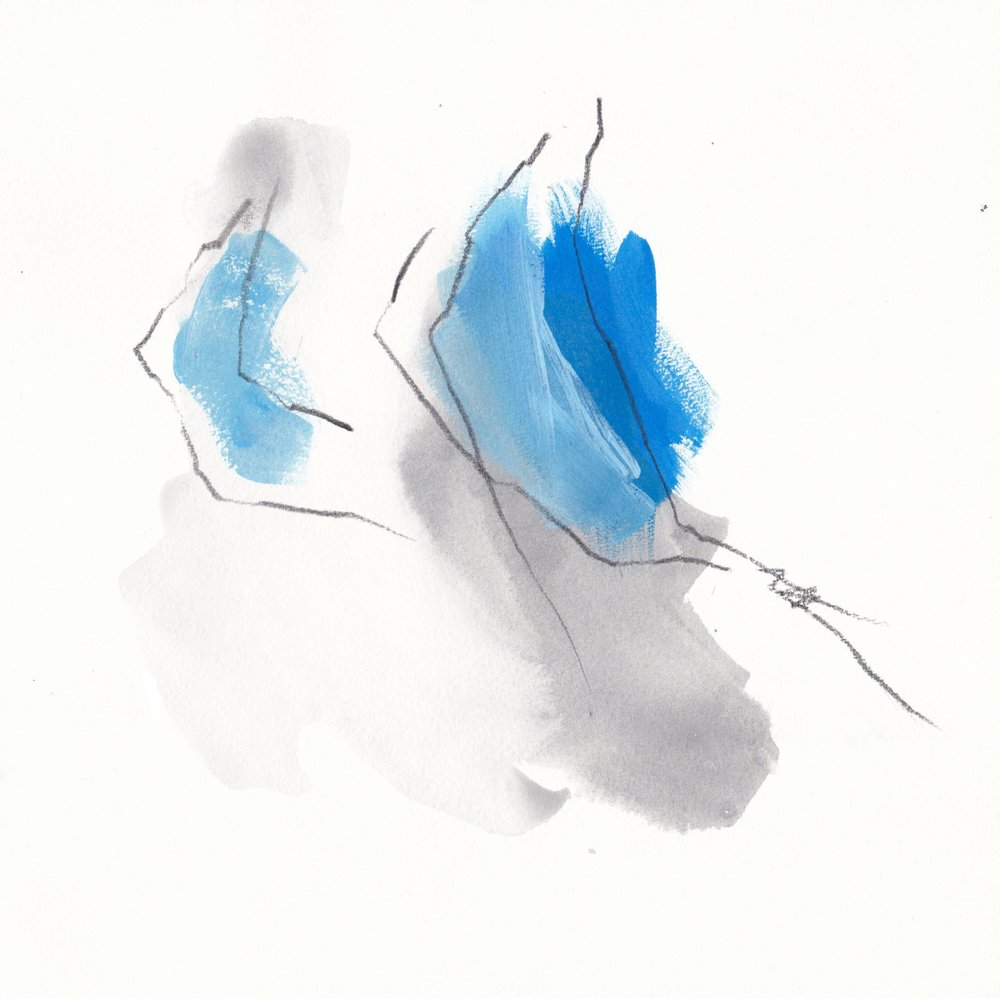 Grey and Blue 2 · 10x10 (25x25cm) · Mixed Media on Paper · 2018 ·  AVAILABLE