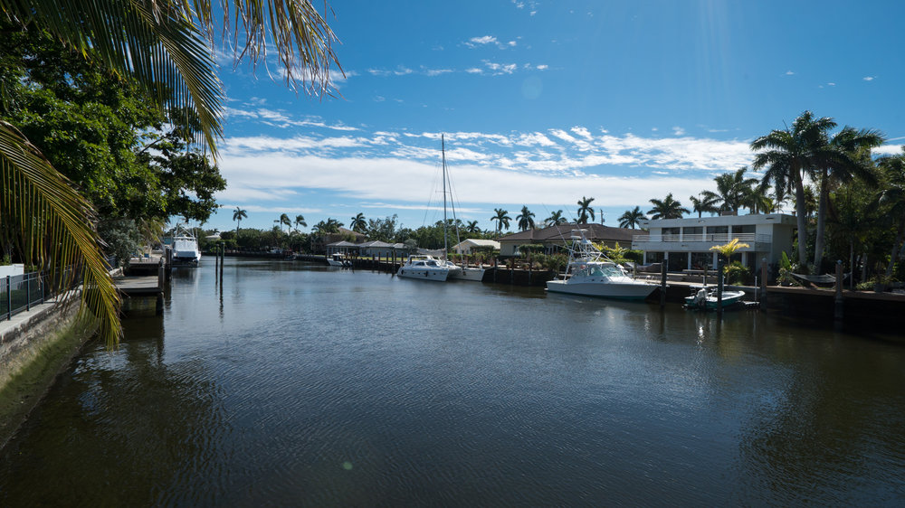 Wide Canal.  Minutes from Inlet at Port Everglades.