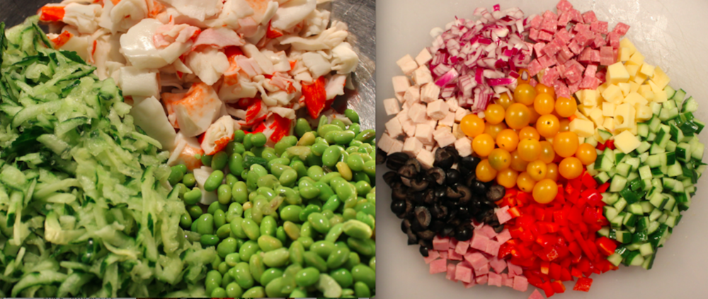 Left: Ingredients for Avocado Miso Seafood Salad Right: Ingredients for Chopped Deli Salad
