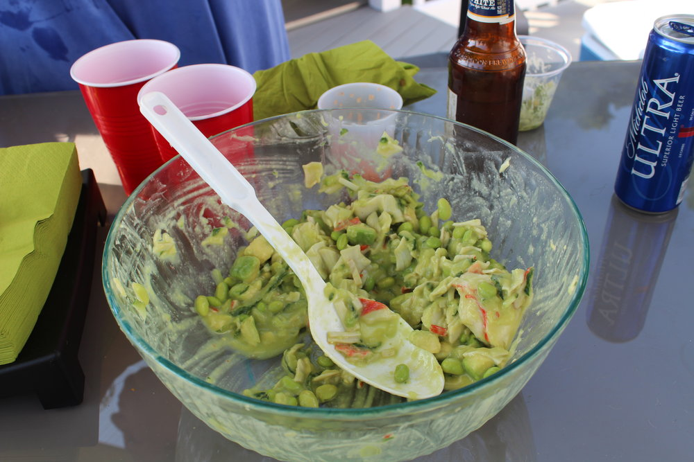 - I brought this salad to a birthday barbecue. I put it on the table & went to get my camera. By the time I got back, here's what was left! (Happy B-day Chris!)