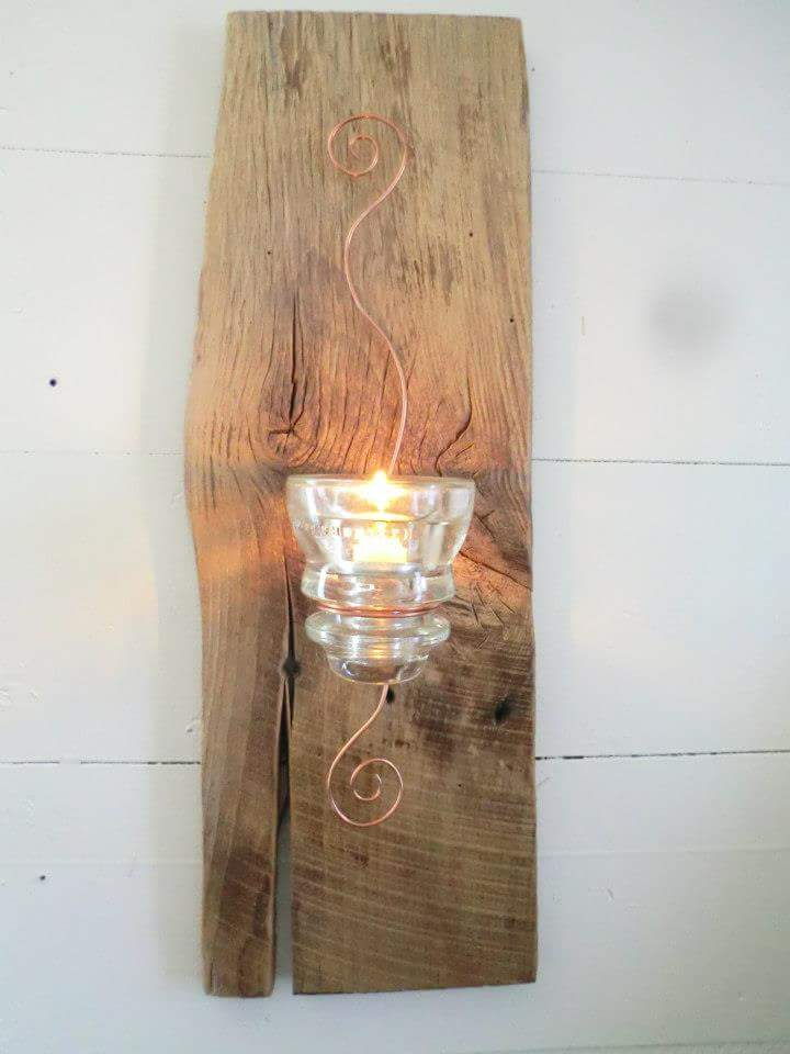 Reclaimed barn wood accent wall candle decoration