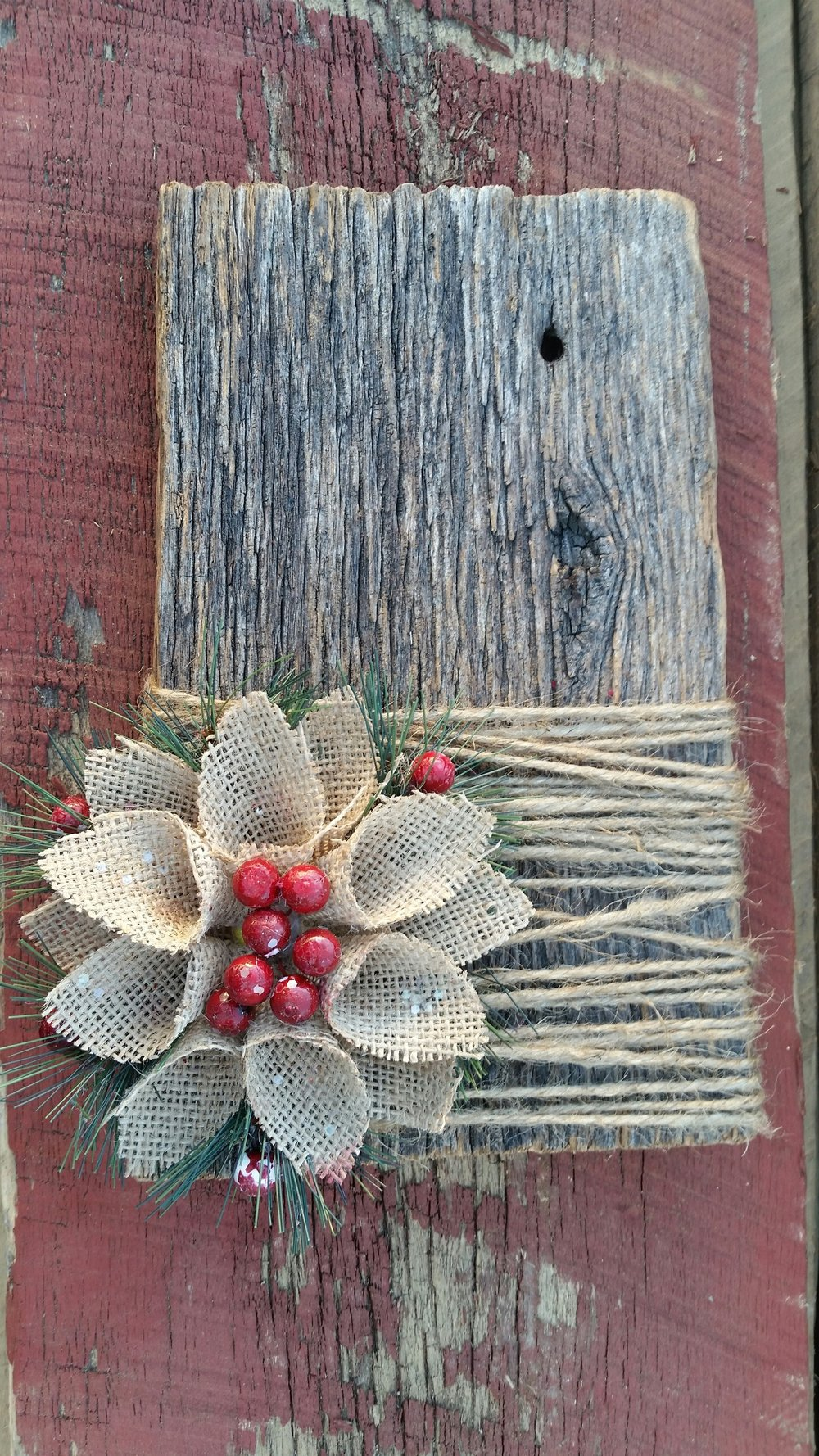 Authentic used barn wood scrap holiday ornament