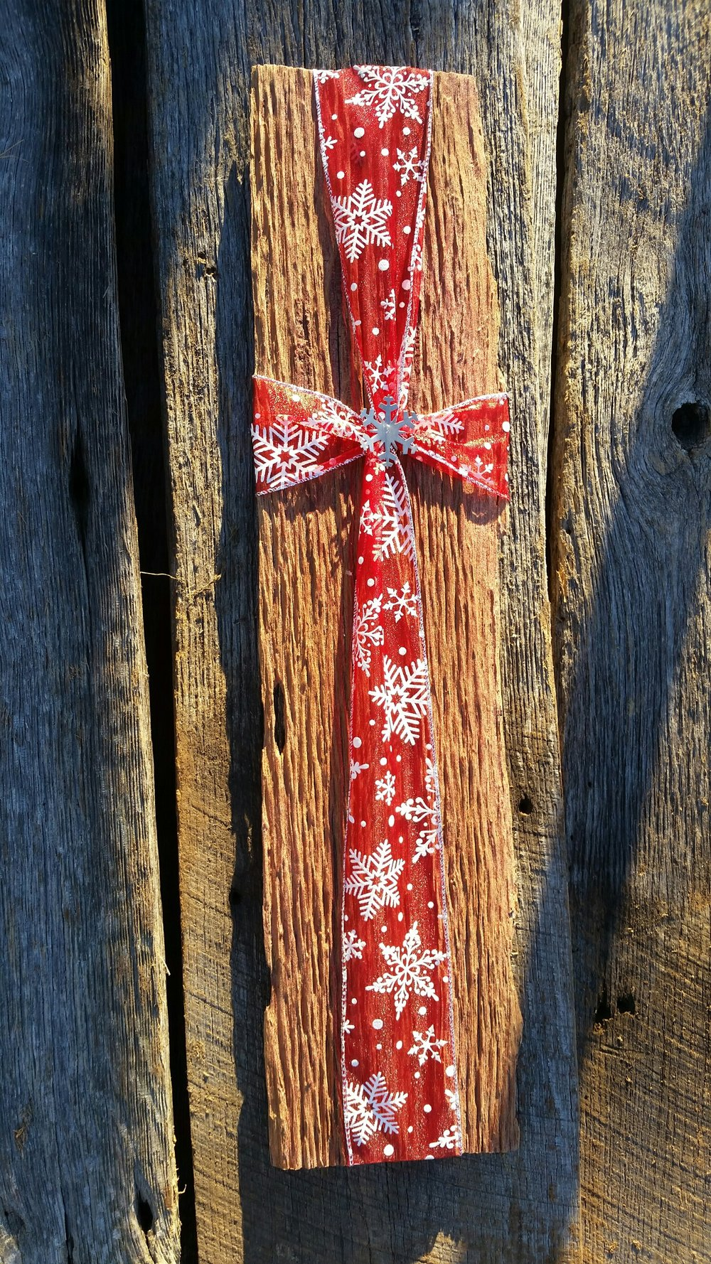 Reclaimed barn wood scrap holiday gift with authentic time weathered grain