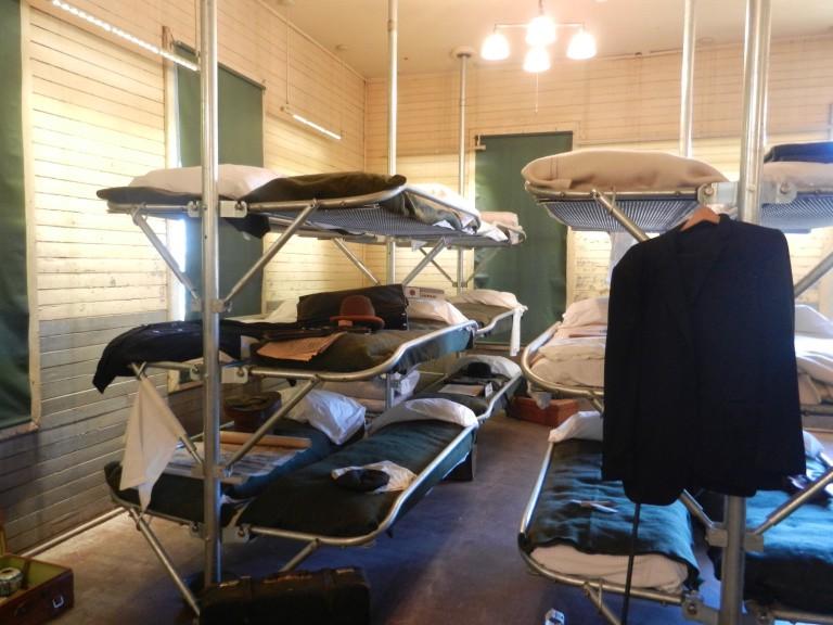 Barracks at Angel island, with overcrowded bunks