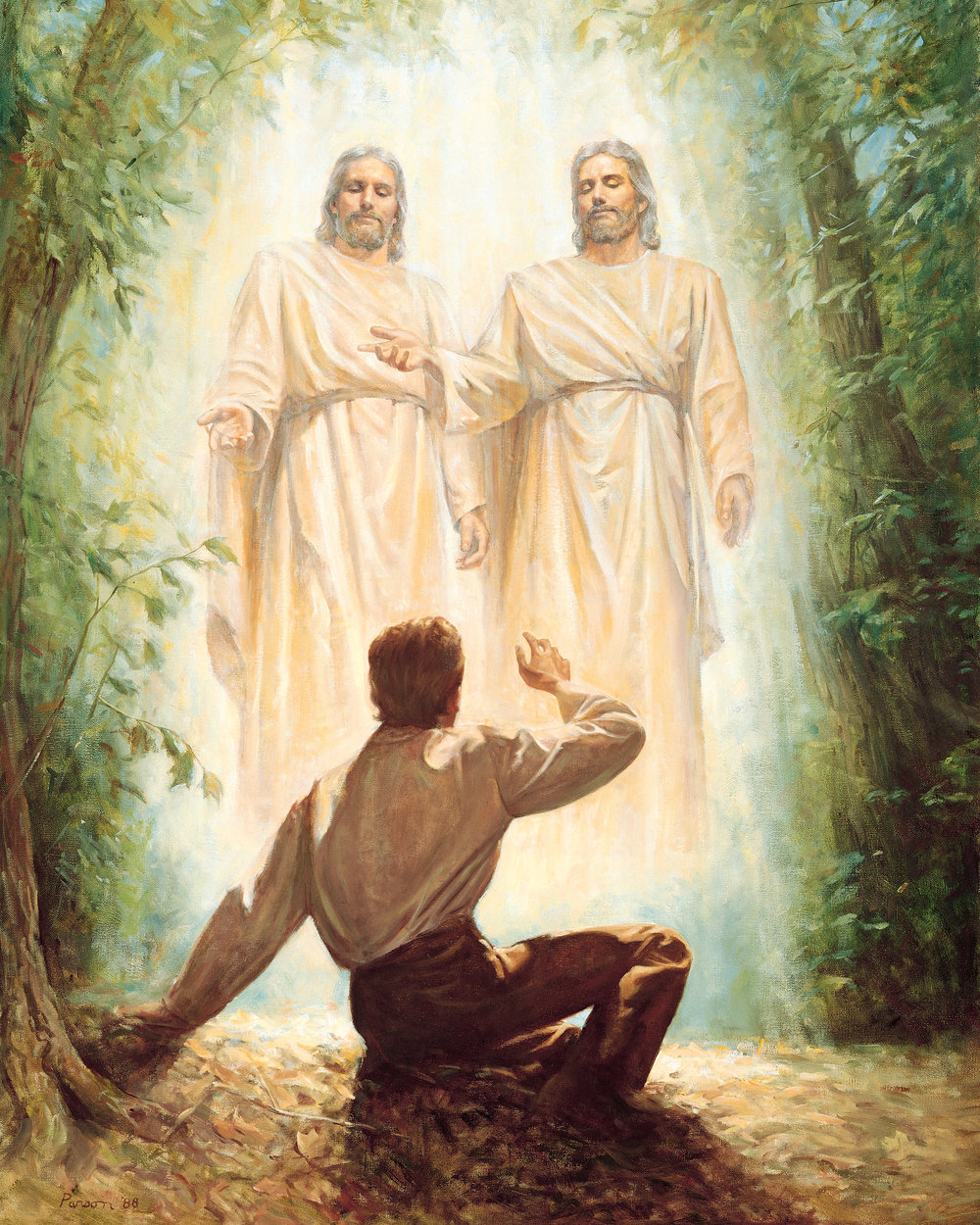 The 1st vision - The official version of Joseph Smith's first vision. Some earlier versions have Jesus visiting him alone, some have Jesus and angels visiting and some have only angels. The official version has the Father and the Son visiting, both with physical bodies.