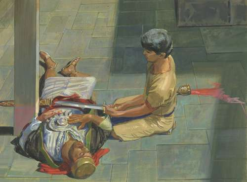 Nephi - found Laban, a wealthy man of power, passed out drunk in the street and cut his head off with his own sword before going to his house and stealing the brass plates that contained the holy scripture, which were written in Egyptian, for some reason.