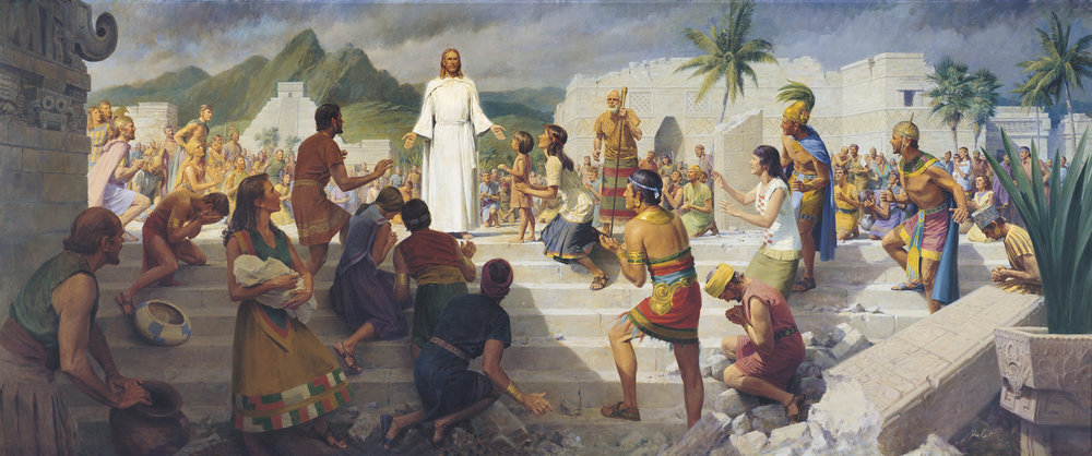 Jesus visiting the Native Americans, as depicted in The Book of Mormon