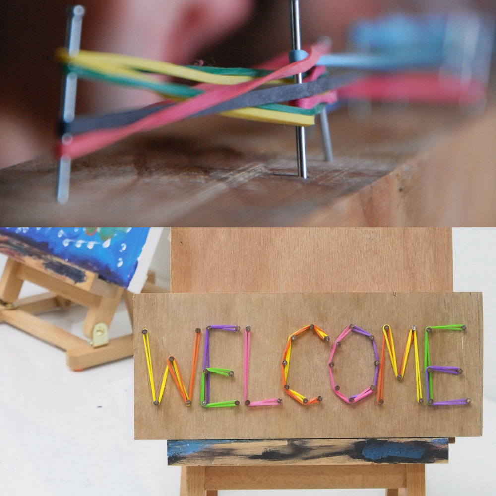 Fun with Nails - Create Your Very Own Door Sign   In this workshop, students learn about simple woodworking and typography. Create a sign with your name for the bedroom door or an inspirational word to display in the study. Use nailing techniques to create a strong foundation and finish off with either craft string (for older kids) or coloured bands for the younger ones. - Recommended for ages 6 & up. Fees: $65 Duration: 3 hours