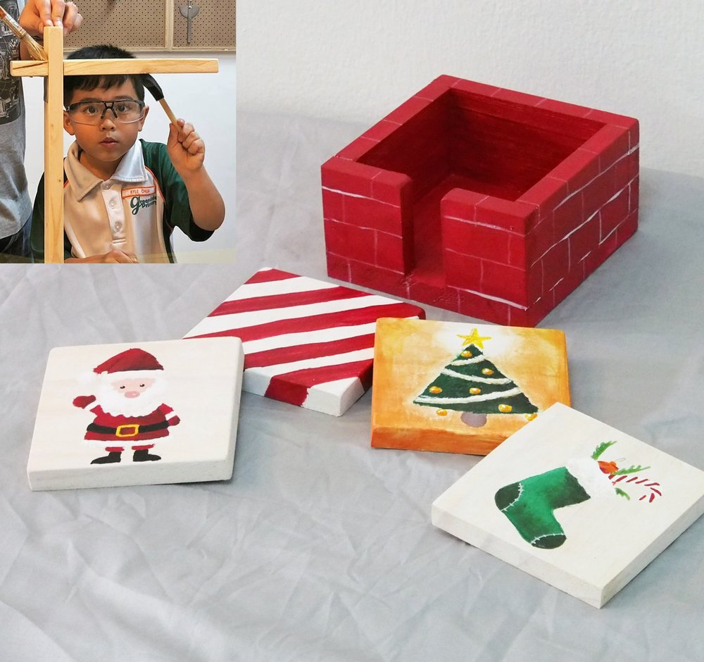 UPCYCLED CHRISTMAS COASTERS   WITH   TRIPLE EYELID    Dates: Two-day workshop on 4 & 5 Dec (Tue & Wed) Time: 10am to 12:30pm (Tue) & 9:30am to 12pm (Wed) Fees: $120 Take home: Set of 4 coasters with holder  Learn about the importance of upcycling this festive season through this two-day workshop. Tour triple eyelid's woodworking facility before crafting your very own set of coasters from heat-treated pine and learning how easy it is to use power tools.  On Day 2, complete your functional artwork with a painting class at Show & Tell Studios before finishing up your very own set of coasters in time for the festive season.    LEARN MORE