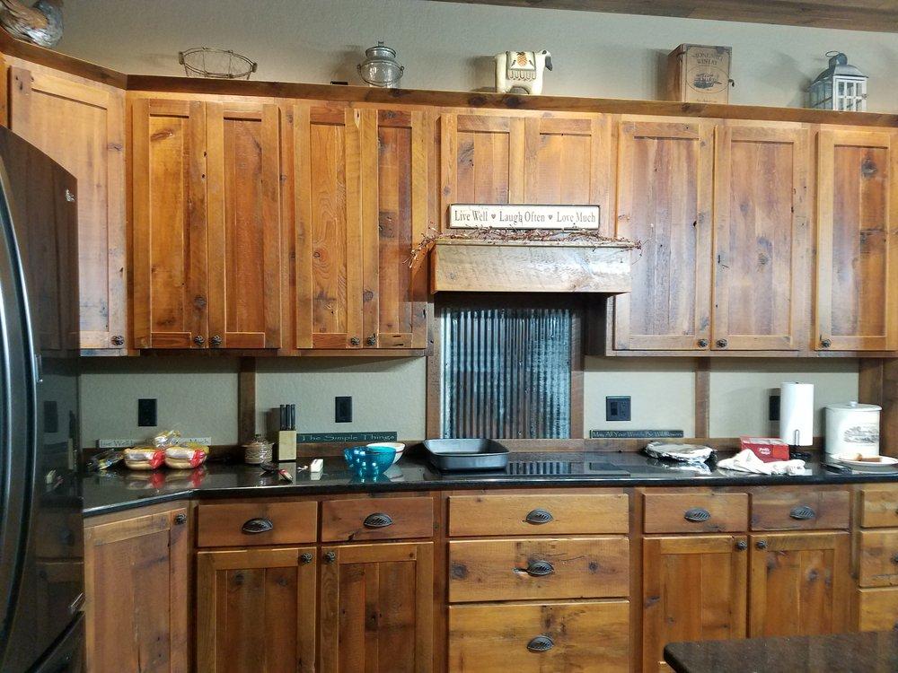 H&L Rustic Reclaim Kitchen Cabinets Amish Furniture