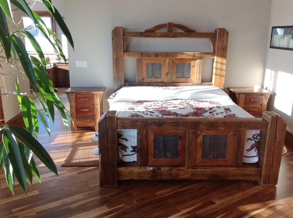 H& L Rustic Reclaime amish made custom bed set