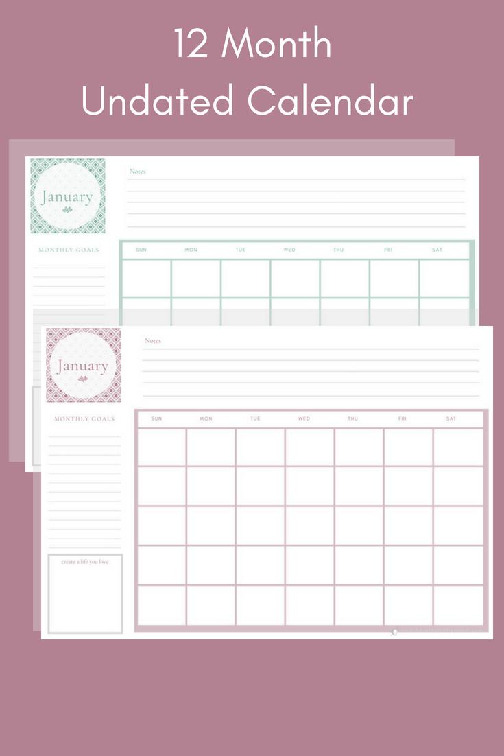 12 Month Calendar Primrose    12 Month Calendar Sage