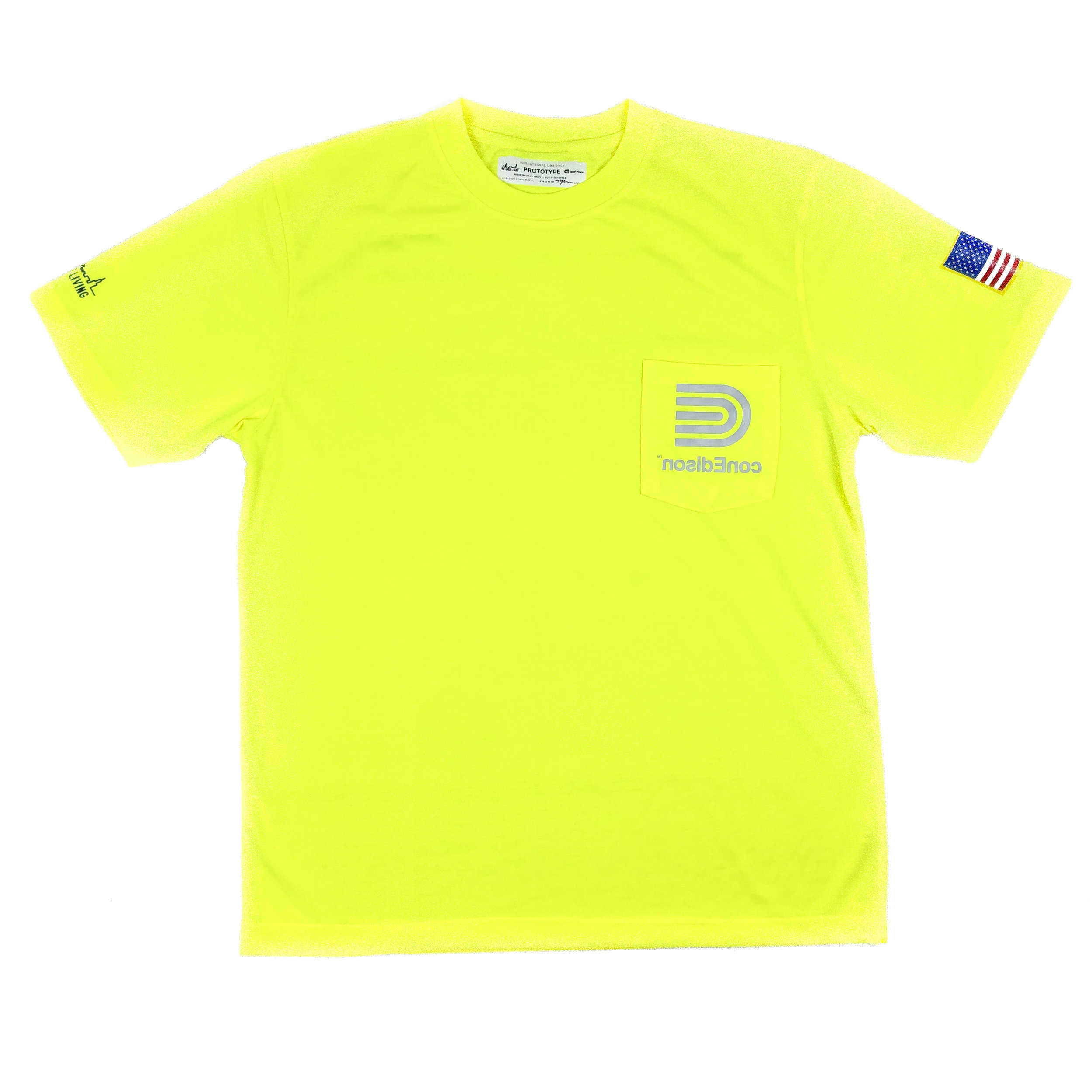 The conEd Reverse Logo Safety-Yellow Roadwork Pocket Tee — An Honest Living™