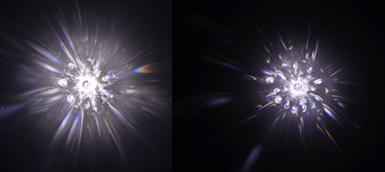 基準をクリアできなかったダイヤモンド  規則性はあるが反射光は中心部のみで全体の反射光量は少ない。(左図)  規則性がなく中心部の反射光量が少ないため暗く見える。(右図)