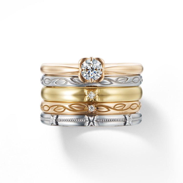 fika 白い花 約束のブーケ 婚約指輪 結婚指輪 セットリング