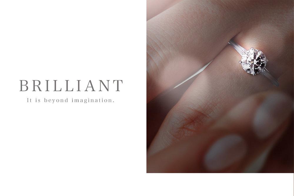 想像を超える輝き - カフェリング・プラチナだからこそ実現可能な、シンプルを極めたラインや造形が生み出すロゼットは、まさに「くすり指に浮かぶダイヤモンド」と称されています。