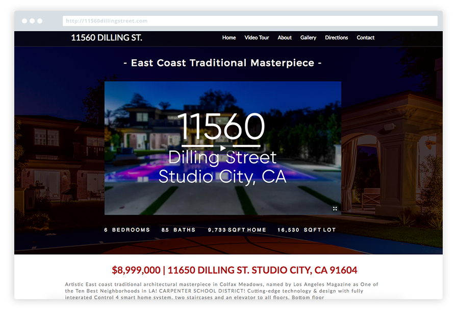 Highlight your Properties at Ease - Each and Every one of our Listing Websites includes a dedicated area to showcase each element of your property.By staying with a clean & photo-driven minimal design the information is all there in an organized & easy-on-the-eye fashion.